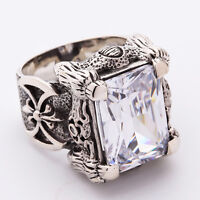 CLEAR DRAGON CLAW & AXE STERLING SILVER MEN'S RING BIKER HEAVY METAL GOTHIC