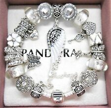 Authentic Pandora Bracelet With Silver Angel Wing Love Heart European Charms.NIB