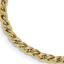 14KT Yellow Gold Link Design Bracelet Rope Twist Weave Shiny NEW 3-D