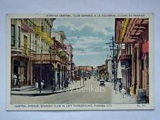 PANAMA CITY Avenida central Club Espanol old postcard