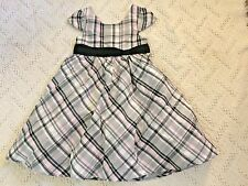 NWT GYMBOREE Très Fabulous Soft Gray Pink 100% Cotton poplin Plaid Dress Girls 5