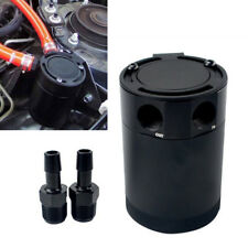 Black Aluminum Oil Catch Can Tank 2-Port Breather Air Oil Separator Universal 1x