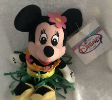 "The Disney Store  Hula Minnie Mouse Bean Bag Plush 8"" NWT"