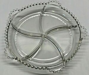 Vtg Imperial Glass Candlewick RARE 5 Part Divided Plate Beaded Bead Dish Star
