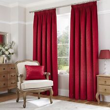 "Catherine Lansfield 66"" x 90"" Terracotta Red Thermal Jacquard Curtains Tape Top"
