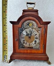 Warmink Clock Vintage Dutch Shelf Mantel Nut Wood 8 Day Night Switch Moonphase