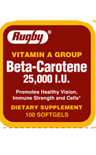 Rugby Beta Carotene 25,000 I.U Vitamin A Group 100 Softgel Capsules