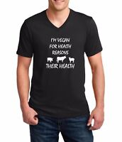 Men's V-neck I'm Vegan For Health Reasons T-Shirt Funny Veggie Lovers Tee Shirt