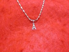 14Kt White Gold Ep 20 Inch 1Mm Twisted Nugget Chain Necklace With Your Initial
