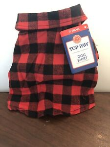 TOP PAW DOG SHIRT RED AND BLACK PLAID X-SMALL NEW WITH TAG