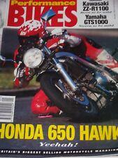 Performance Bikes 01/93 Kawasaki ZZ-R1100, Yamaha GTS1000 & Honda 650 Hawk Tests