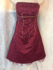 Morgan & Co Formal homecoming Maroon Short Dress Beads Strapless Sz 13 14 Corset