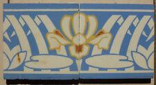 Jugendstil Fliese art nouveau tile V&B Mettlach Seerose stilisiert sehr rar top