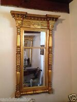 American Antique Pier Mirror Classical Molded Cornice Gilt Wood Acorn Pendants