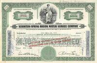 Scranton-Spring Brook Water Service Company 100 Share Common Stock Certificate