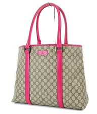 Authentic GUCCI Brown GG Canvas and Pink Leather Tote Shoulder Bag Purse #36407