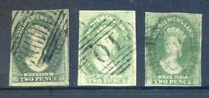 Australian States Tasmania 1857 - 67 2d green x 3 used (2019/09/27#01)