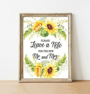 ~Leave a Note~ Wedding/Sunflowers/Rustic/ Style sign 8'' x10''