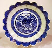18th C Chinese Export Blue White Canton Porcelain Scalloped Serving Bowl 10""