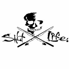 "Salt Life Signature Skull & Fishing Poles ""Black"" Uv Rated Vinyl Decal"