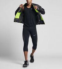 Nike TRAIL MEN'S RUNNING JACKET PACKABLE Dropped Back Hem,Black/Volt Medium