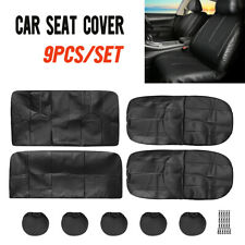 9pc PU Leather Auto Car Van Seat Cover Full Set Front Rear Seat Cushion Mat