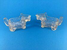 2 Scotty dog glass pitcher creamer candy dish pipe holder