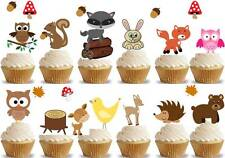 26 WOODLAND CREATURES childrens Cup Cake Topperd Edible Decorations Party kids