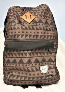 Herschel Supply Co. Men's Heritage Backpack Geometric Design Black & Brown~ USED