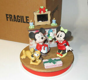 GROLIER DISNEY CHRISTMAS 1986 BISQUE FIGURINE Mickey Minnie Mistletoe Magic IB