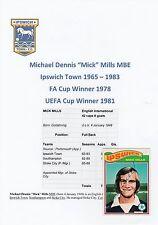 MICK MILLS che città 1965-1983 mano originale firmato A.B.C. CARD