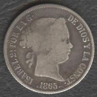 1865 Spanish Philippine ISABEL II 20 Centimos KM #146 Silver Coin, Stock- A3