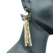 Boucles d'oreilles Papillon Pendante Dentelle Ajourée Filigrane Legere Doré
