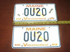 "PAIR NOS Maine Lobster vanity OU20 license plate Humor ""OWE YOU $20"" U2 Band SPY"