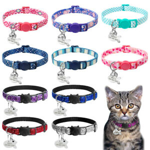 Sequins&Nylon Breakaway Pet Cat Collar Personalised ID Name Tag for Puppy Kitten