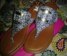 Guess shoes women wedge slip on sandals denim Logo sz 11*Sissy