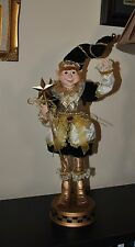 NEW ELF GNOME Halloween/X-mas DOLL  Jingle Bell STANDING  UNIQUE GOLD DRESS Star