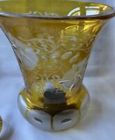 Vintage Floral Etched Yellow Hurricane? Glass Lamp Shade