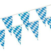 "Wimpelkette Folie 10 m ""Bayrisch Blau"" wetterfest Oktoberfest Wiesn Partydeko"