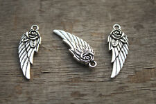 15pcs Wing charms Silver Tone Steampunk Angel Rose Wing charm pendants 11x31mm