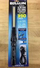 BRAUN SLIM BAR RECHARGEABLE LED WORK LIGHT/FLASHLIGHT MAGNET BASE 390 LUMENS