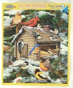 "White Mountain LOG CABIN BIRDHOUSE 1063 Jigsaw Puzzle 1000p 24x30"" Giordano 2014"