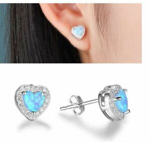 BLUE FIRE OPAL CRYSTAL HEART STUD EARRINGS. SILVER PLATED