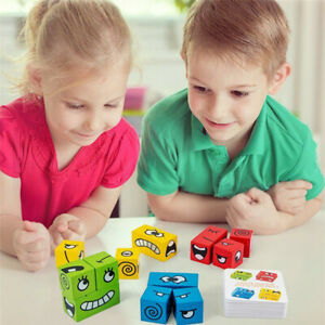 Geometric Cube Face-Changing Puzzle Building Cubes Kids Interaction Toy Wooden