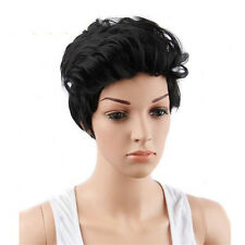 Black Short  Women Wigs Synthetic Hair Pixie Haircut Curly Wig With Bangs