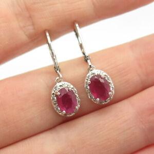 925 Sterling Silver Real White Topaz & Ruby Gemstone Dangling Earrings