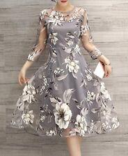 NWOT O-Neck Lace double Layer Gray Flower dress Juniors size Medium