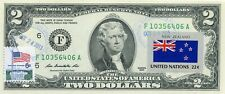 US $2 DOLLARS 2013 STAMP CANCEL FLAG OF UN FROM NEW ZEALAND VALUE $125