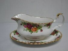 VINTAGE ROYAL ALBERT OLD COUNTRY ROSES GRAVY BOAT with UNDERPLATE EXCELLENT!