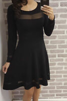 Womens Long Sleeve Sheer Mesh Insert Panels Bodycon Midi Party Skater Dress